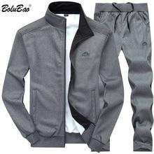 BOLUBAO 남자 Tracksuits 단색 운동복 2020 가을 남성 자켓 + 바지 Tracksuit 남성 운동복 캐주얼 2 조각 세트