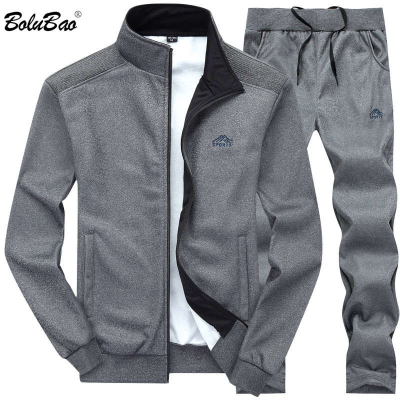 BOLUBAO hombre chándales Color sólido ropa deportiva 2019 otoño chaqueta de los hombres + Pantalones chándal sudadera masculina Casual 2 piezas conjunto