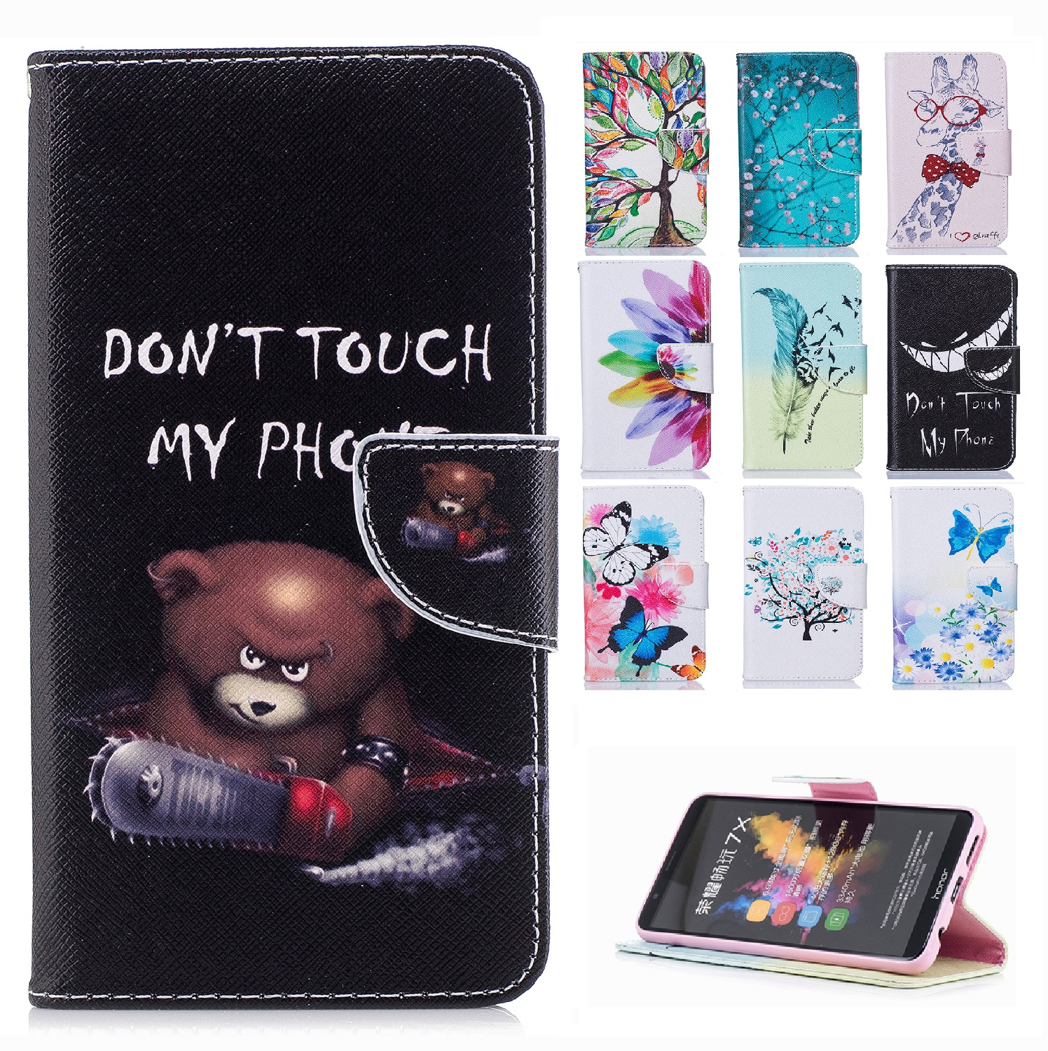 Cartoon Cat Case for Huawei FRD L02 L04 L09 L14 L19 Honor 8 Case Leather Cover Wallet Silicon Back Cover for Honor8 Phone Bag nokia 8 new 2018
