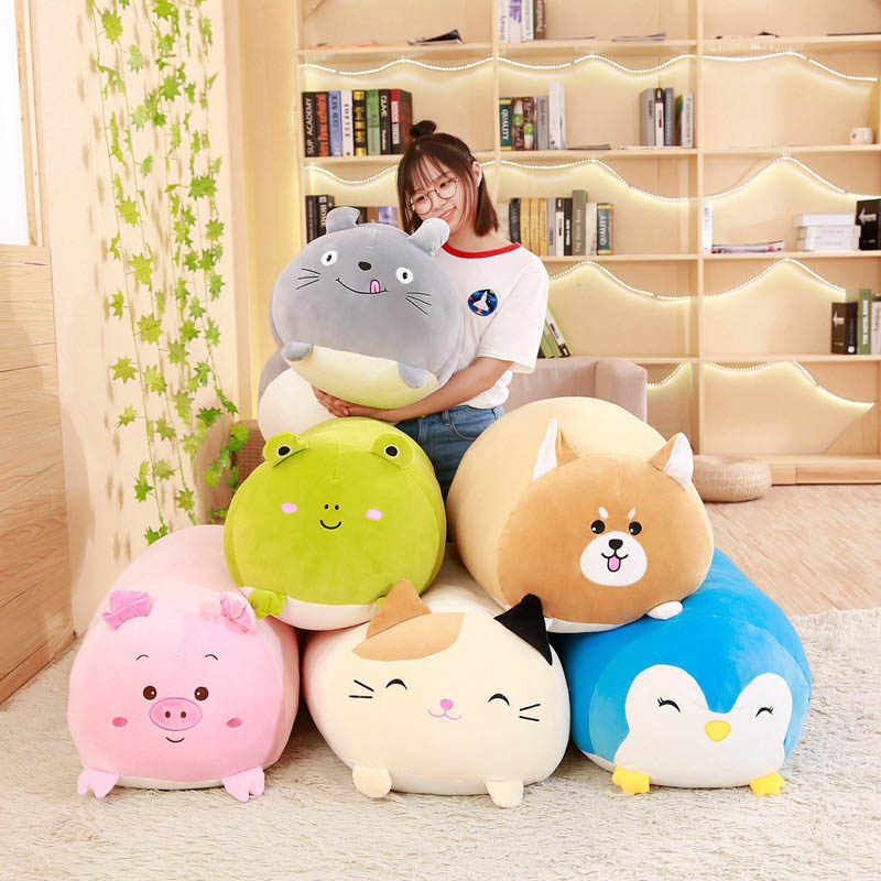 Nooer Soft Animals Pillow Cushion Cute Fat Dog Cat Totoro Penguin Pig Frog Plush Toy Stuffed Lovely kids Toy