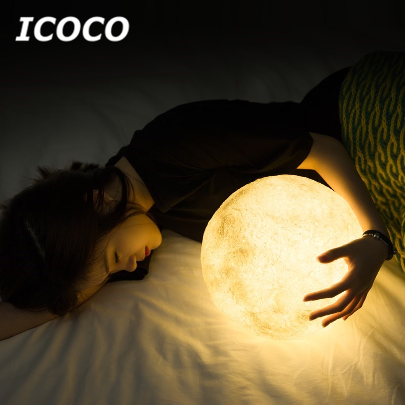 ICOCO 3D Print Earth Lamp USB Rechargeable Color Change Touc