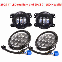 2PCS 7INCH Round 105W Black led projector headlight H4 Hi/LO DRL + 4'' INCH 30W Passing fog Lamp For Jeep Wrangler JK CJ TJ