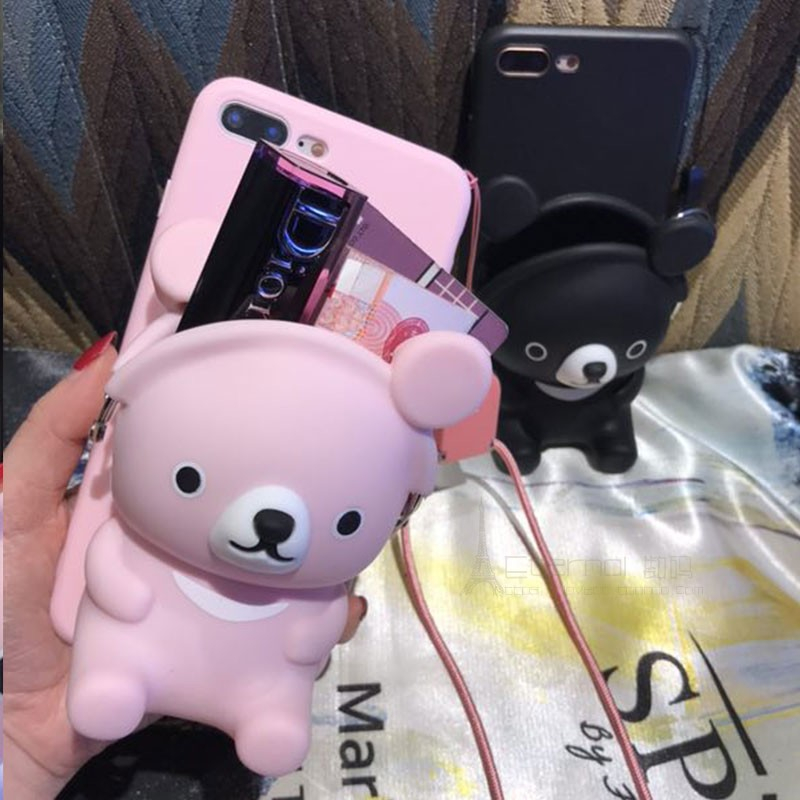 Galleria fotografica Cute 3D bear card make up wallet soft case for iphone 5 6 s 7 8 plus X XR XS MAX cover for samsung galaxy S6 S7 edge S8 S9 note
