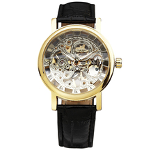 2016 WINNER Vintage Women Semi-automatic Mechanical Watches Ladies Wristwatches Leather Strap Skeleton Dial Luminous Hands
