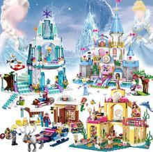 Elsa Ice Castle Princess Anna Brick Toy Treasures Building Blocks  Toy Aciton Figures Compatible All