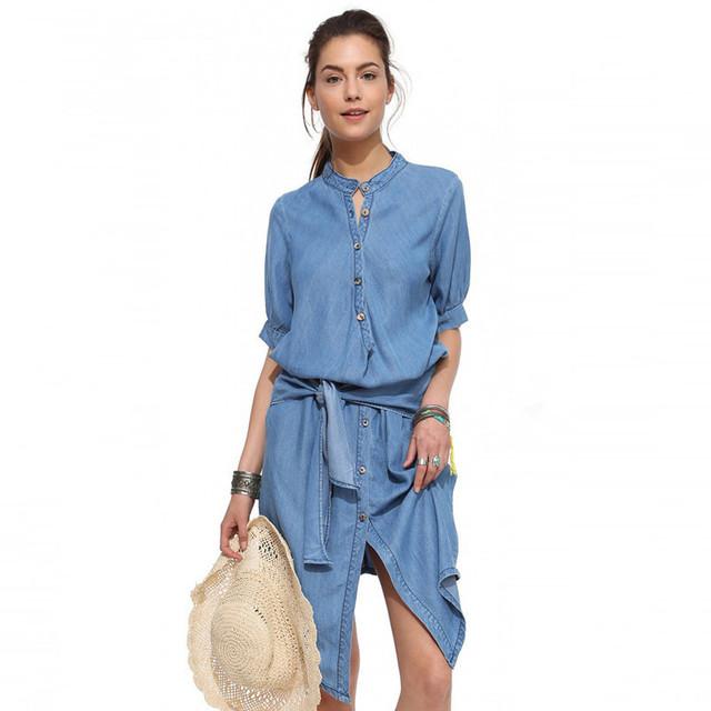 2016 denim dress chegada nova casuais botões soltos mulheres camisa laço azul elegante vestidos de verão vestidos de manga curta sólida g980