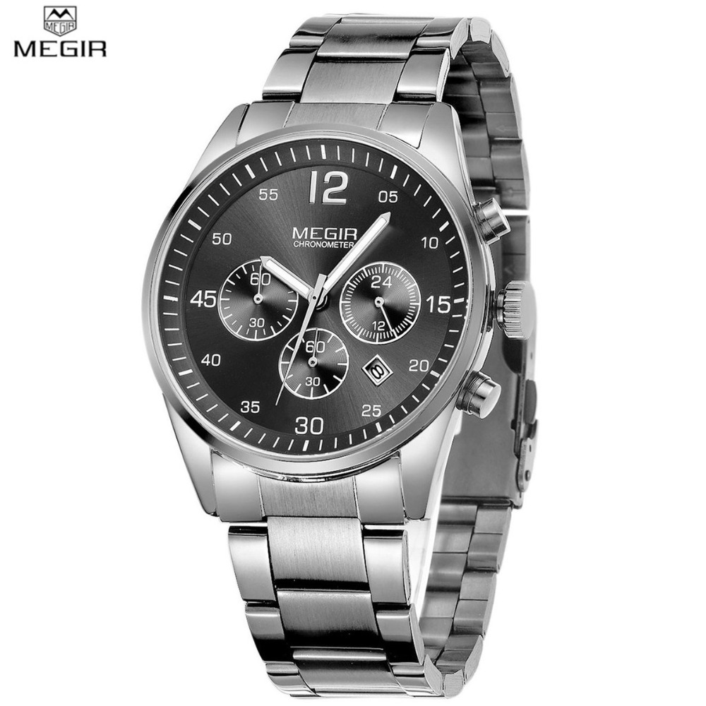 MEGIR Men Top Brand Luxury Military Watch Chronograph Full Steel Calendar Sport Army Watch Casual Business Watches relogio 2010 hubot elegant classic men s watch dates calendar classical art carved craft design chronograph men sport watches relogios
