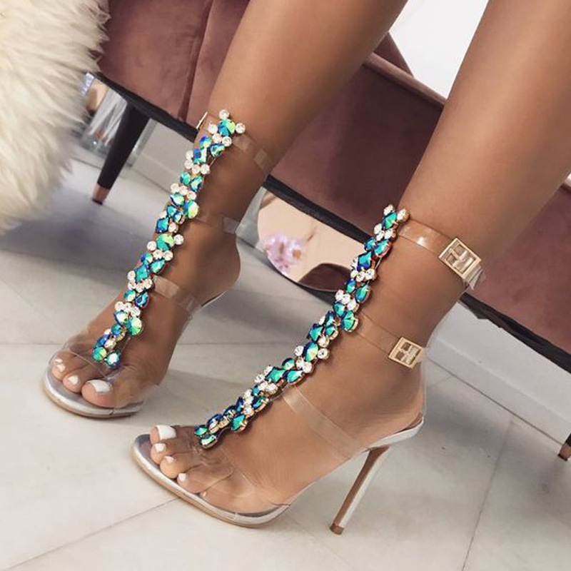 2019 summer shoes woman super high heels ladies sandals new large size transparent rhinestone thin heel Roman party shoe