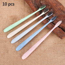10pcs/set Fine head Portable Travel Toothbrush Soft Bamboo Charcoal Wheat Stalk Handle Oral Care Nano-antibacterial Toothbrush