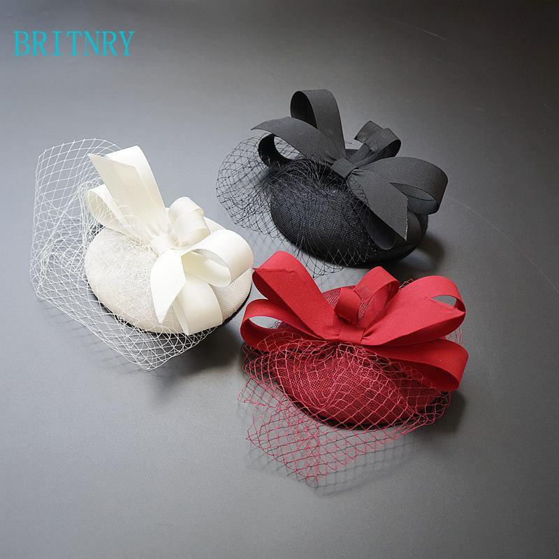 BRITNRY 2018 New Arrivals Wedding Hat Burgundy Beige Black Bride Hat High Quality Wedding Accessories