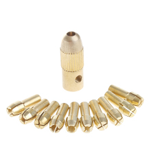 цена на 1 Set 3.17mm+10Pc 0.5-3.2mm Micro Twist Hand Drill Kit Chuck Electric Drill Bit Collet