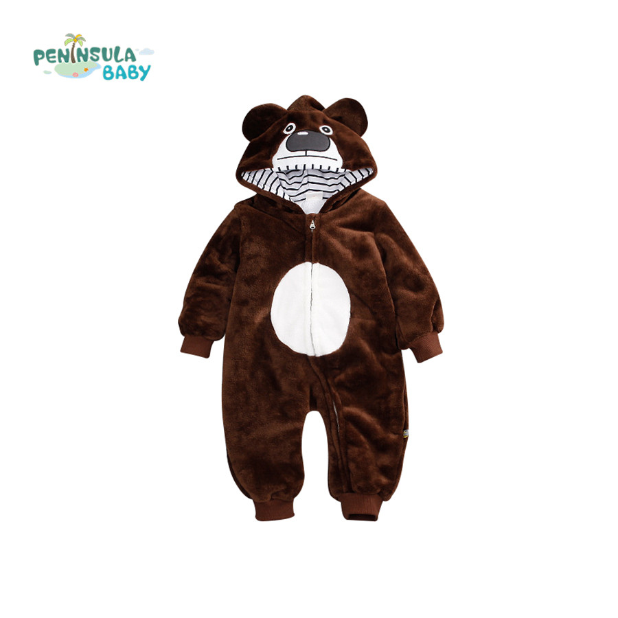 18fe57be9 Winter Baby Rompers Cute Bear Hooded Warm Coral Fleece Jumpsuit Girls Boys  Newborn Toddle Clothing Snowsuit Babies Jumpsuits