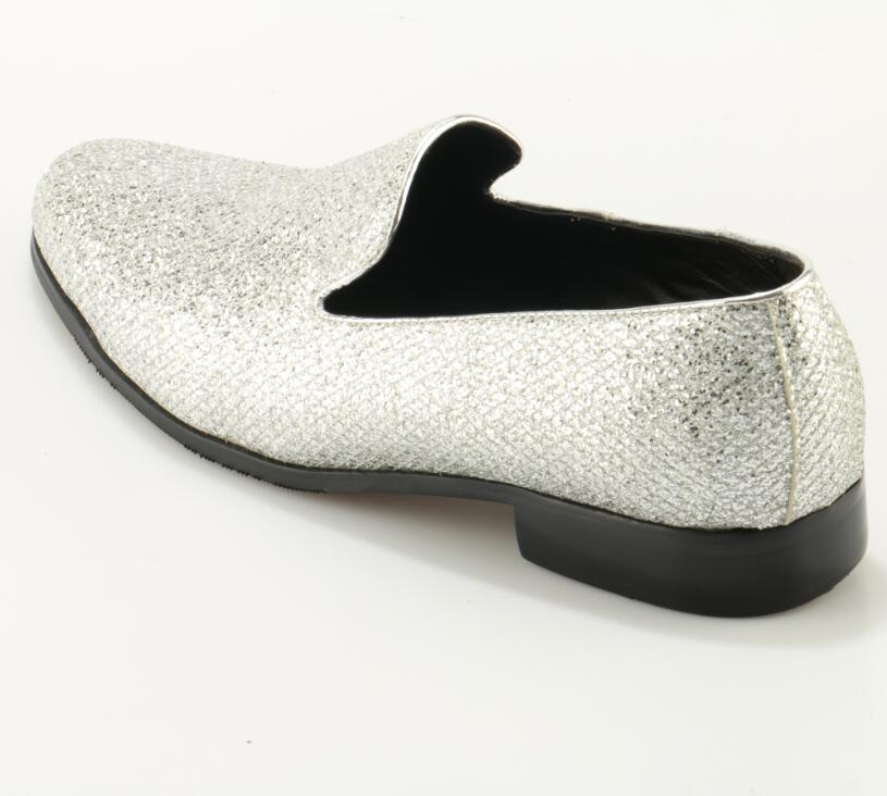 Wedding Shoes Silver Glitter Slip On Men Dress Loafer Comfortable Flats  Zapatos Round Toe Mens Prom Shoes Size 38 48 -in Men s Casual Shoes from Shoes  on ... cfb406f35359
