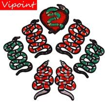 Вышивальные змеиные патчи для курток, значки с сердечками змеи для джинсов, аппликации с животными, A349
