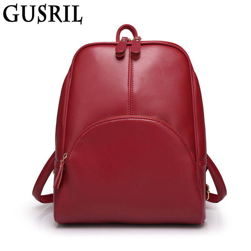 2017 Fashion New Shoulder Bag Simple Travel Big Women s Backpack Pure Color Women Leisure PU