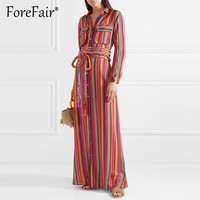 Forefair Vintage Rainbow Striped Maxi Dress 2018 Women Autumn Shirt Dress Long Sleeve Turn down Collar Pocket Loose Long Dresses