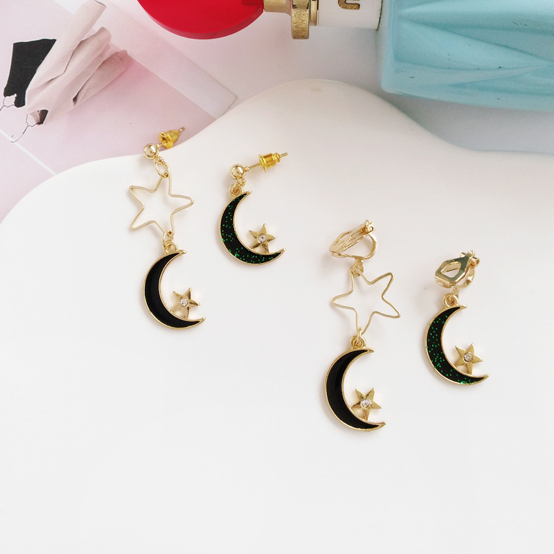 Simple Korea Romantic Earth Universe Clip Earrings No Piercing Cute Hollowed out Star Moon Clip on Earring Women