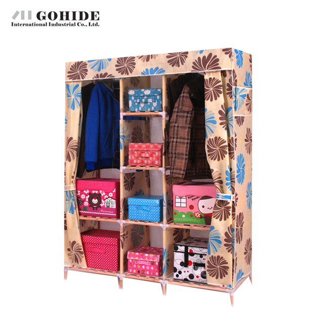 Gohide Double Solid Wood Wardrobe Easy Folding Wardrobe Non-Woven Wardrobe DIY Closet Wardrobe Folding Living Room Furniture