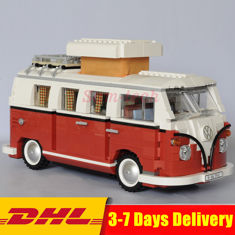 DHL In-Stock 1354Pcs 2018 New 21001 Volkswagen T1 Camper Van Model Building Kits Bricks Toys LEPIN Compatible with 10220 new in stock 4r3ti20y 080