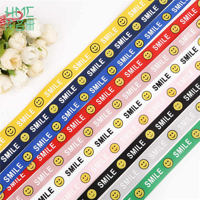 "5yards 5/8'' (15mm) Printed ""Smile Face"" Grosgrain Ribbon For Hair Bow Party Christmas Wedding Decoration DIY Gift Wrapping"