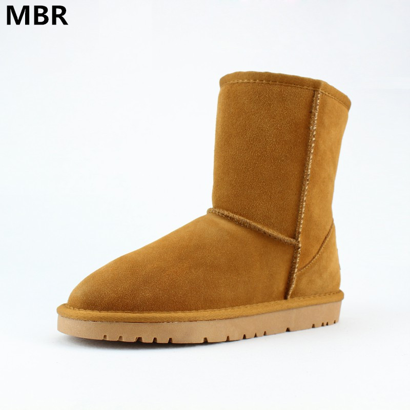 MBR Brand Hot Sale Women Snow Boots 100% Genuine Cowhide Leather Ankle Boots Warm UG Winter Boots Woman shoes large size 35-43 2016 hot sale male snow boots genuine leather ankle suede snow boots winter shoes for men and women mens boot shoe 35 48