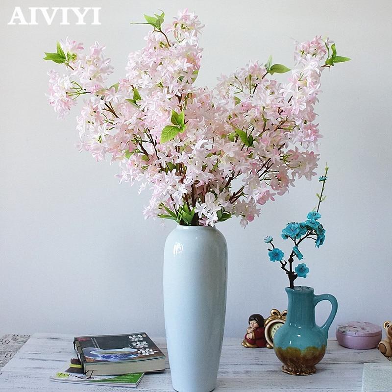 Importerede varer god produkt kunstig lilla blomst bryllup buket kirsebær blomst silke falsk bryllup blomst DIY hjem deco