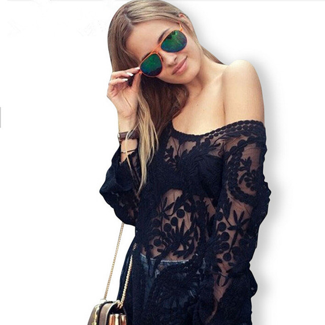 1d35062fc87 Blusas Femininas 2015 Summer Style Fashion Women Semi Sheer Embroidery  Floral Hollow Out Blusas Long Lace Blouse Plus Size