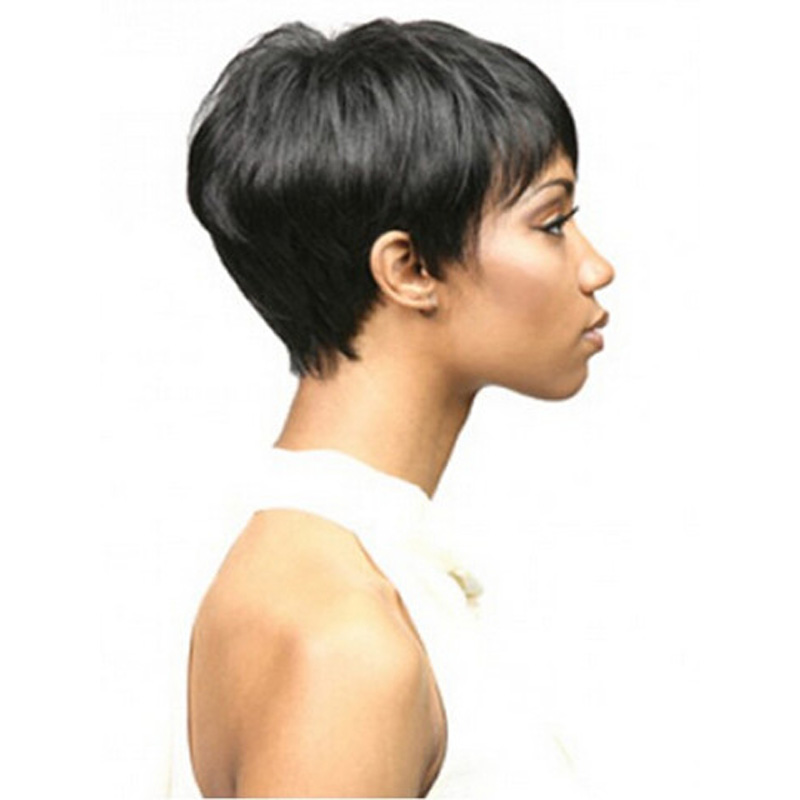 Medusa hair products  Afro boy cut Short pixie wigs for black women  straight Synthetic african american wig with bangs SW0110 on Aliexpress.com   9067c34ca