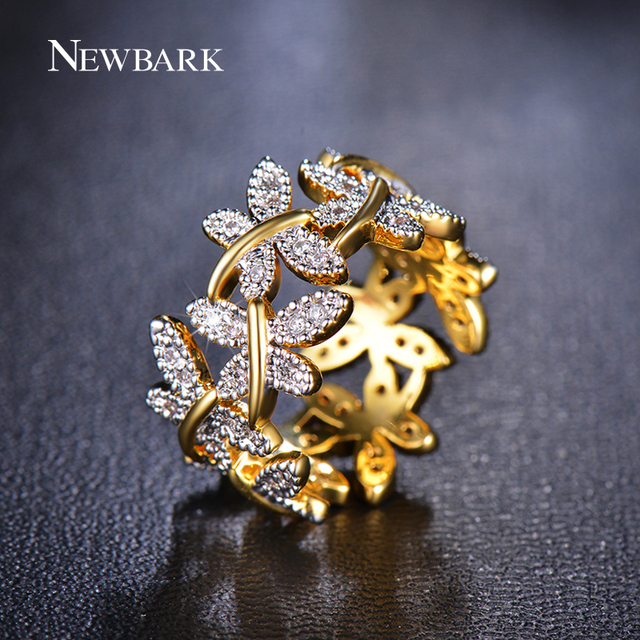 NEWBARK Elegant Flower Rings Composed Of 10 Butterflies Paved Tiny CZ Stone Fash