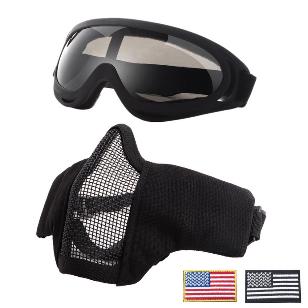 Tactical Airsoft Masks Breathable Half Metal Steel Mesh Face Mask And UV400 Goggles+Armband Set For Tactical Hunting Paintball S