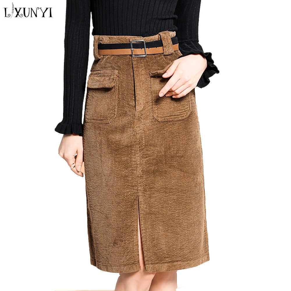 fa077a19c85 LXUNYI 2019 Autumn Corduroy Skirt Women Brown Black Office Skirt Pencil  Skirts Womens High Waist Ladies