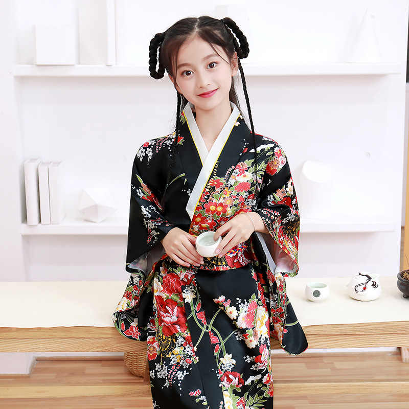 Children Girls Japanese Traditional Costumes Kimono Dress National Kimono Yukata with Obi Novelty Evening Dress Cosplay Costume