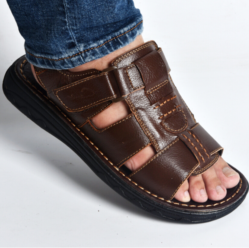 a414e60b1d616 US $21.73 13% OFF|2019summer mens slippers genuine leather sandals outdoor  casual men leather sandals for Beach shoes hombre Hollow aerated shoes-in  ...