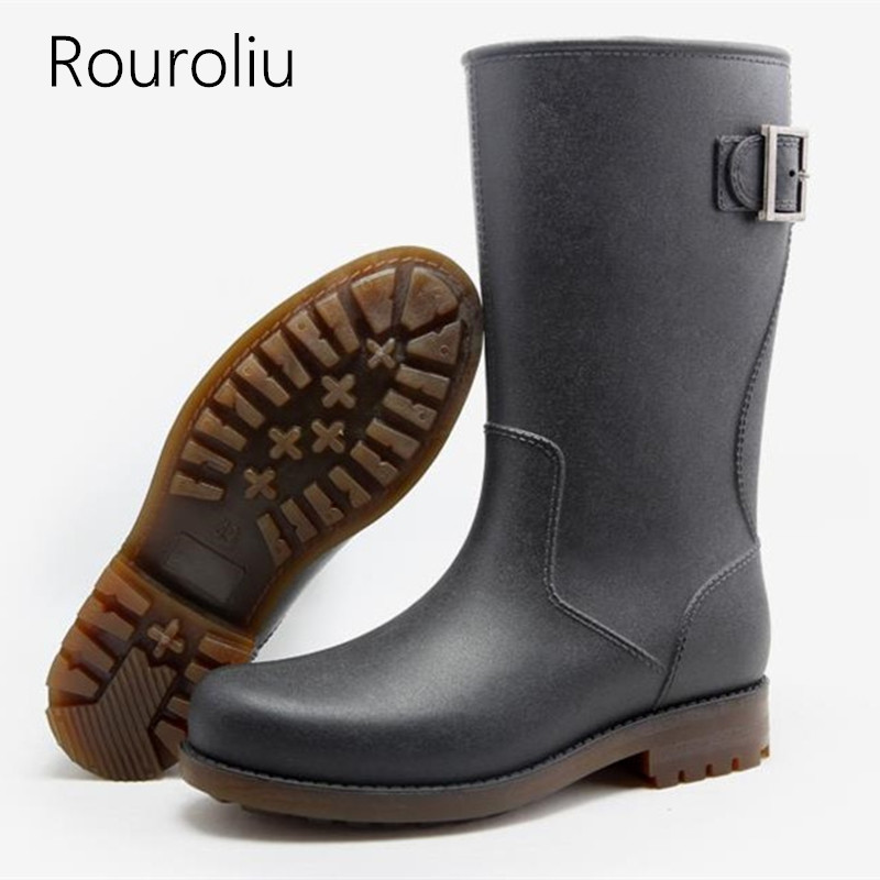 Rouroliu Autumn Non slip Rain Boots Work Safety Footwear Mid calf Buckle Rainboots Waterproof Water Shoes Male Wellies TR211