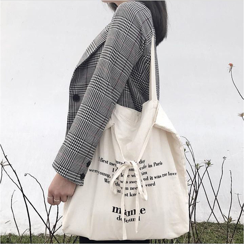 Shoulder Bags Cotton Fabric Canvas Bag Handbag Fashion Letter Printing Bowknot Leisure Package DIY Ribbon With Canvas Satchels