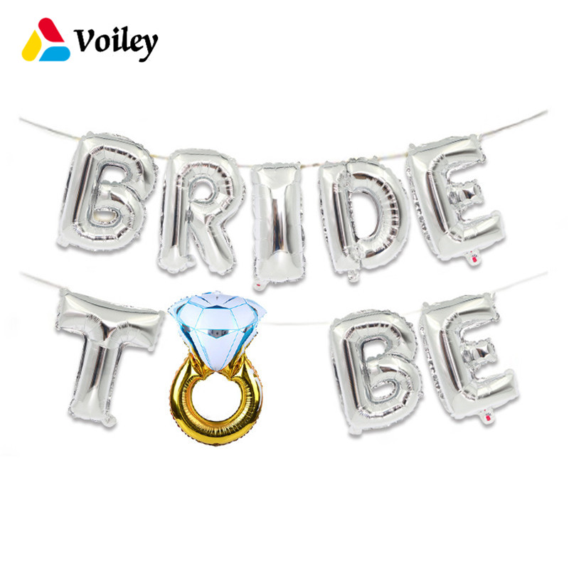 abab5ea58cc22 US $1.76 28% OFF|Aliexpress.com : Buy Wedding Bridal Shower Decoration  16inch Gold Silver Bride To Be Letter Foil Balloons Diamond Ring Balloon  for ...