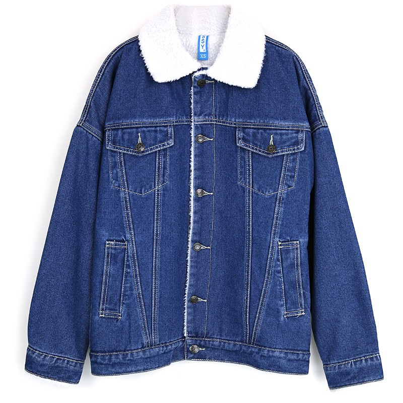 Plus size 2019 New Winter Casual thicken Women lambswool Denim Cotton Coat Lovers Long Sleeve Warm Outwear Denim   Basic     Jacket