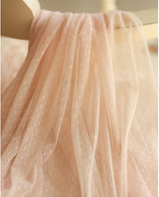 peach pink tulle fabric, mesh fabric with dots