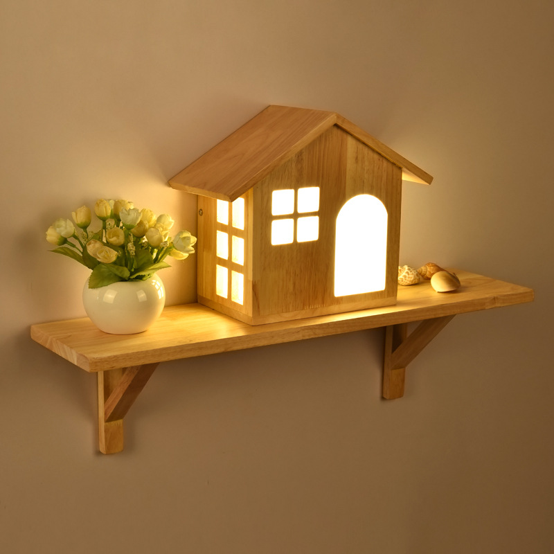 New Creative Carton Lovely Hand Crafted Original Wood Little House Led Wall Lamp For Childrens Room Bedroom Living Room 1138New Creative Carton Lovely Hand Crafted Original Wood Little House Led Wall Lamp For Childrens Room Bedroom Living Room 1138
