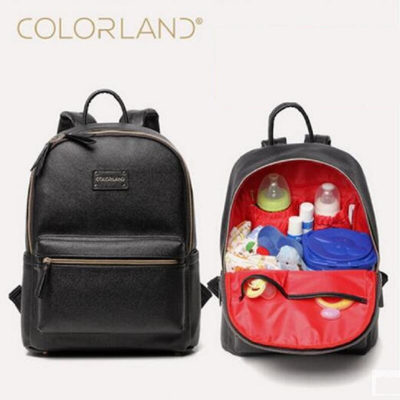 colorland pu leather baby bag organizer tote diaper bags mom backpack mother maternity bags. Black Bedroom Furniture Sets. Home Design Ideas