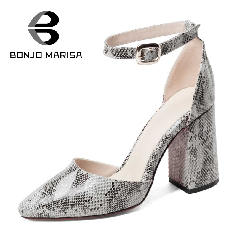 Summer Pointed Toe Ankle Straps Shoes Party Wedding Quality Snakeskin Printed Microfiber Women High Heel Sandals BONJOMARISA wholesale lttl new spring summer high heels shoes stiletto heel flock pointed toe sandals fashion ankle straps women party shoes