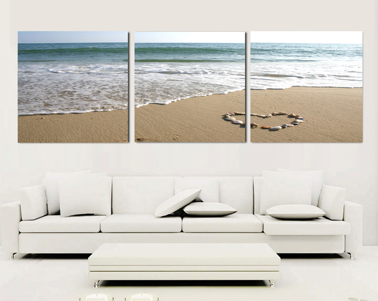 3 Piece Canvas Wall Art Sets Beach Painting Heart Stone Oil ...