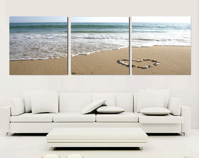 3 Piece Canvas Wall Art Sets Beach Painting Heart Stone Oil Paintings Bedroom Decorative Picture Seascape