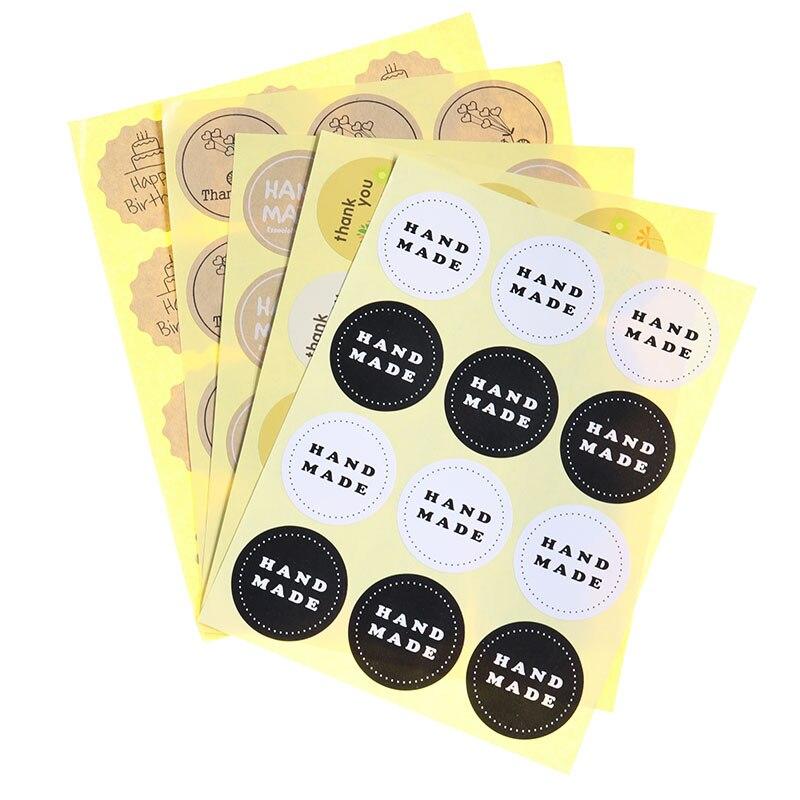 60//120pcs Round Thank You Label Sealing Sticker Envelope Seal Sticker Tag Decor