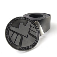 Fashion Black Faux Leather Belt Men With Marvel S H I E L D Eagle Metal