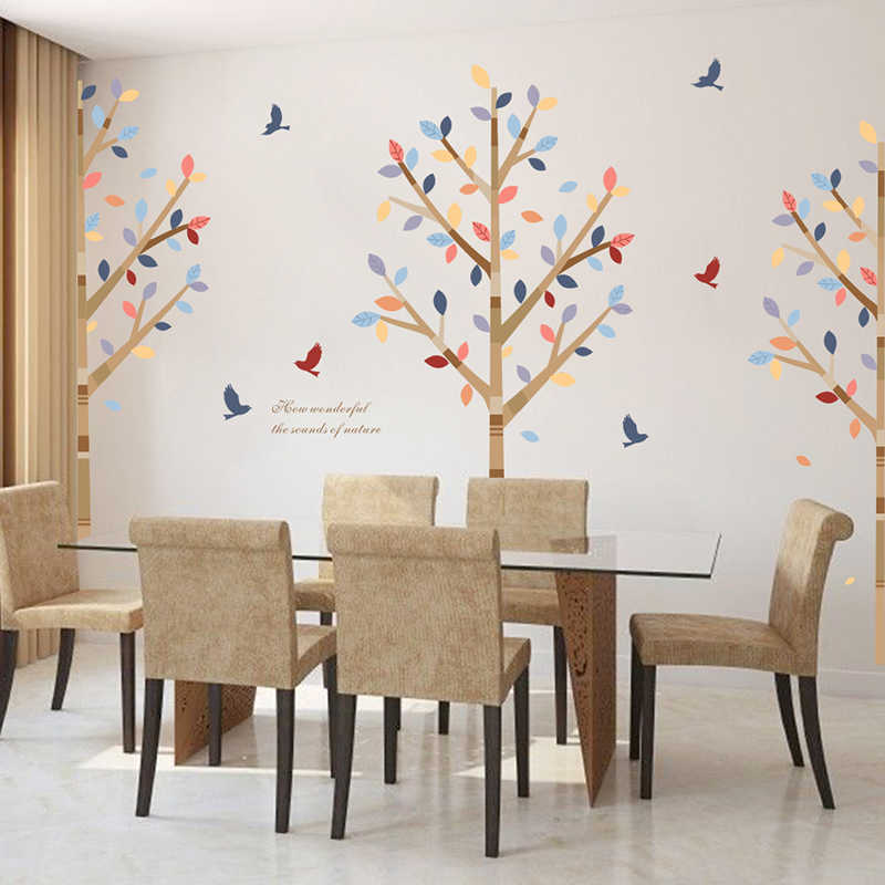 Nature Forest Bird Tree Wall Stickers Restaurant Cafe Living Room Bedroom Decoration TV Sofa Backgro