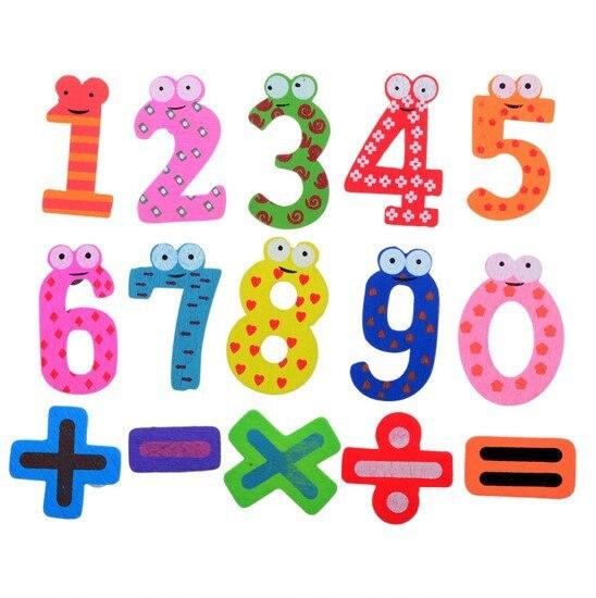Лидер продаж комплект 15 шт. номер Деревянный магнит на холодильник Образование ЖЖ Милый Малыш Детские игрушки