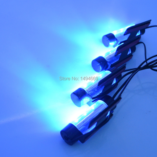 Super cool a set of 4pcs of pure blue car interior atmosphere light foot light car
