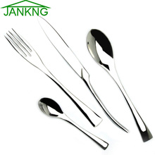 JANKNG 4Pcs/Lot 18/10 Stainless Steel Dinnerware Set Steak Knife Dinner Fork TeaSpoon Sliverware Western Cutlery Set Tableware