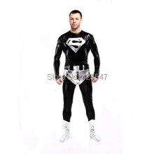 Factory Direct Wholesale Price Shiny Metallic Black Superman Costume Halloween Cosplay Party Prom Zentai Suit